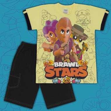 Комплект тениска и бермуди Brawl Stars в жълто