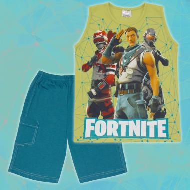 Комплект тениска без ръкав и бермуди Фортнайт зелено