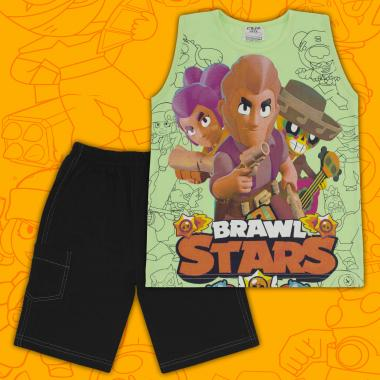 Комплект тениска без ръкав и бермуди Brawl Stars резеда