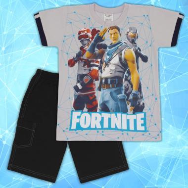 Комплект тениска и бермуди Fortnite в сиво