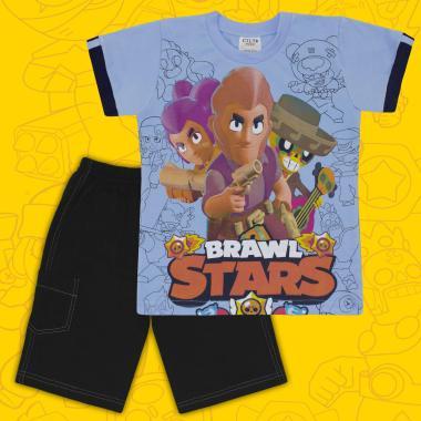Комплект тениска и бермуди Brawl Stars в синьо