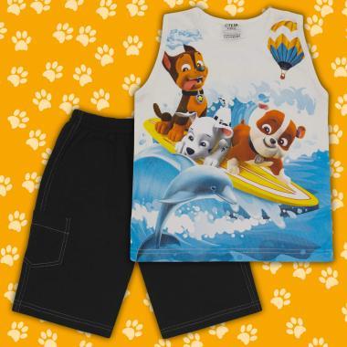Комплект тениска без ръкав и бермуди Пес патрул в екрю