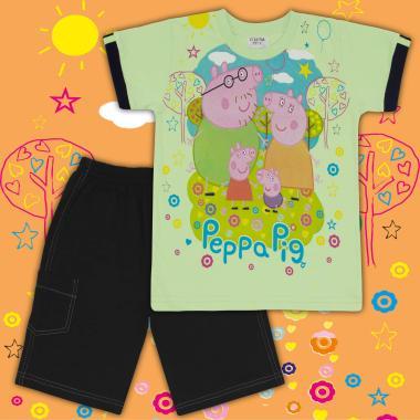 Комплект тениска и бермуди Прасето Пепа в резеда