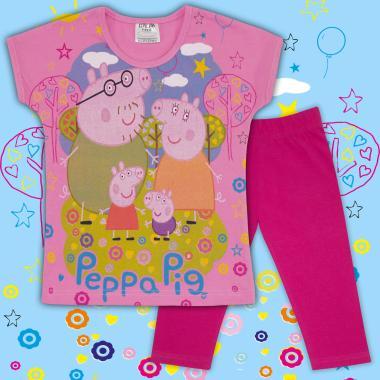 Комплект блузка и клин Прасето Пепа в розово и циклама