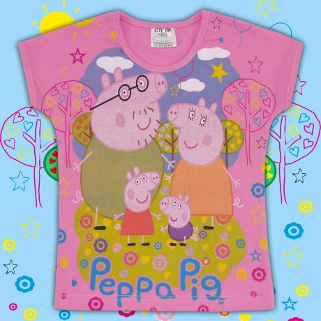 Блуза с къс ръкав Прасето Пепа в розово