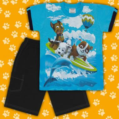 Комплект тениска и бермуди Пес Патрул наситено синьо