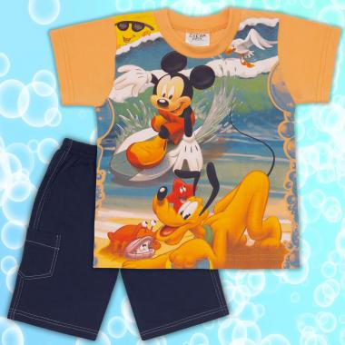 Комплект тениска и бермуди Мики Маус в оранжево