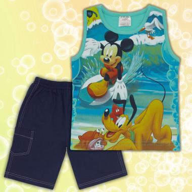 Комплект тениска без ръкав и бермуди Мики Маус в мента