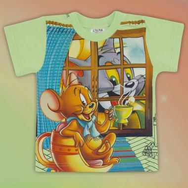 Тениска Том и Джери в мента