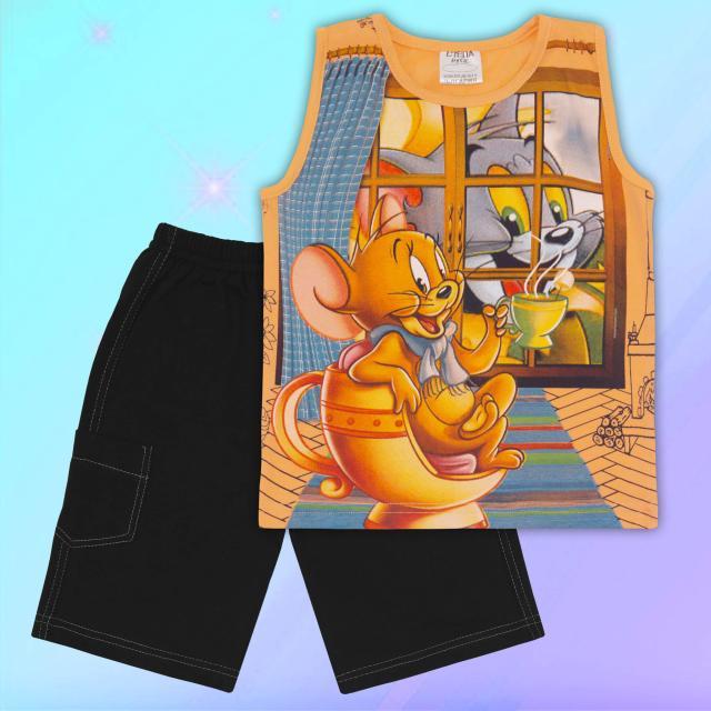 Комплект тениска без ръкав и бермуди Том и Джери в оранжево