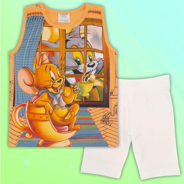 Комплект потник и клин Том и Джери в оранжево и екрю