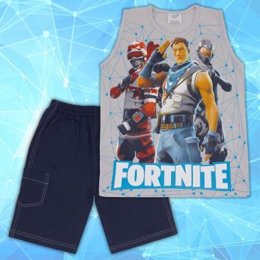 Комплект тениска без ръкав и бермуди Фортнайт бяло
