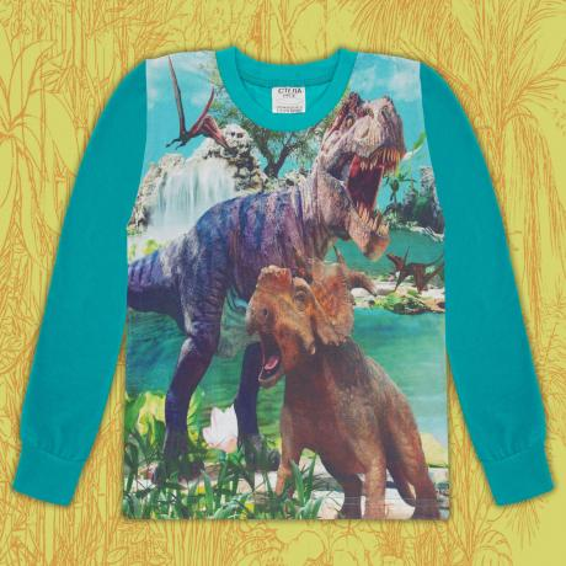 Блуза тънка дълъг ръкав с Динозаври в морско синьо (дигитален печат)