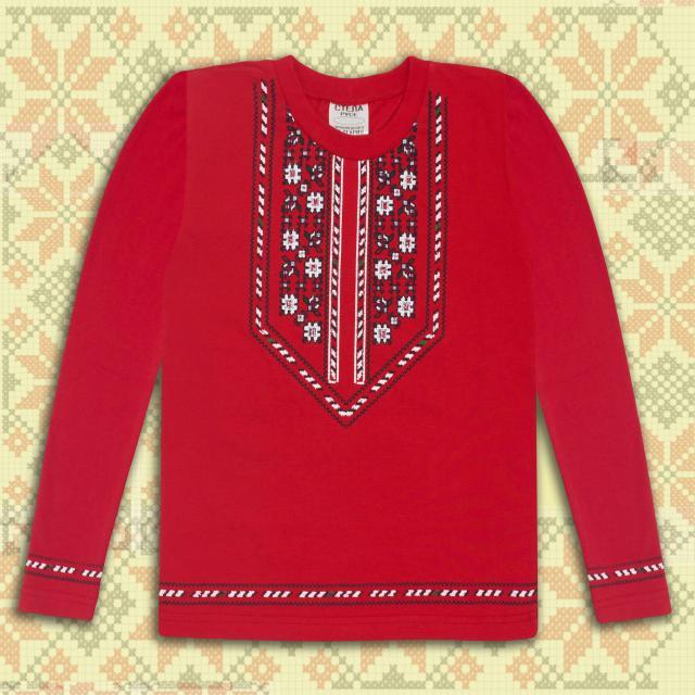 Блуза тънка с дъл.ръкав с фолклорни мотиви в червено