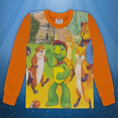 Блуза с дълъг ръкав Франклин в оранжево (дигитален печат)