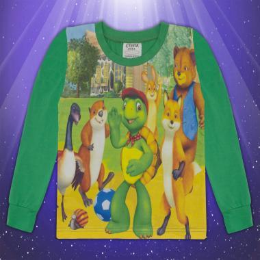 Блуза с дълъг ръкав Франклин в зелено (дигитален печат)