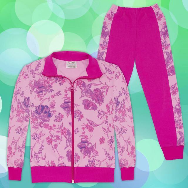 Комплект дълго сако и долнище на цветя 1 в розово
