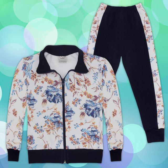 Комплект дълго сако и долнище на цветя 2 в бяло и тъмно синьо