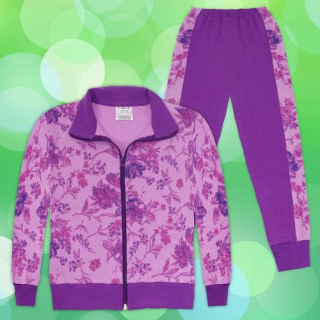Комплект суичер и долнище на цветя 2 в светло и тъмно лила