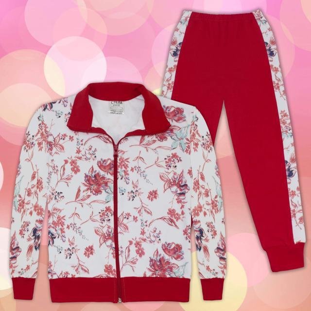 Комплект суичер и долнище на цветя 2 в бяло и червено