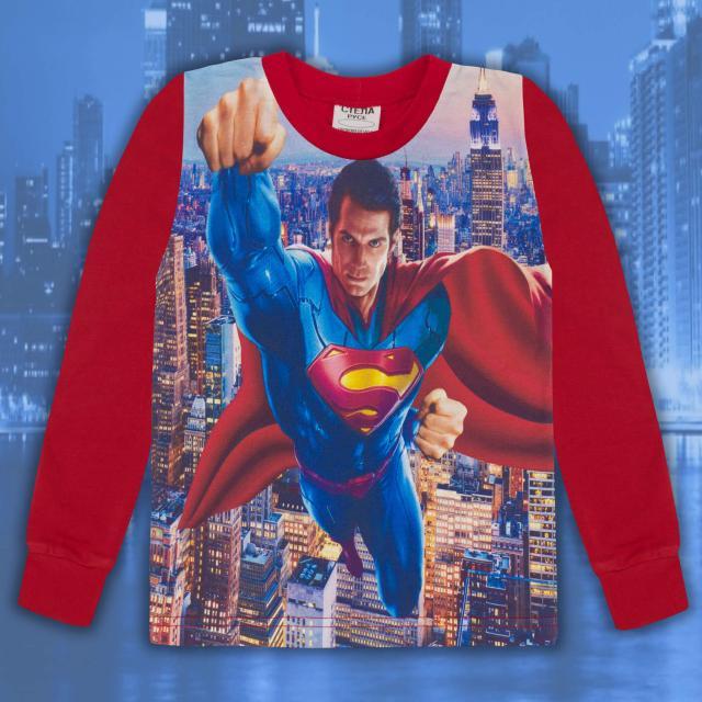 Блуза тънка дълъг ръкав с Супермен в червено (дигитален печат)