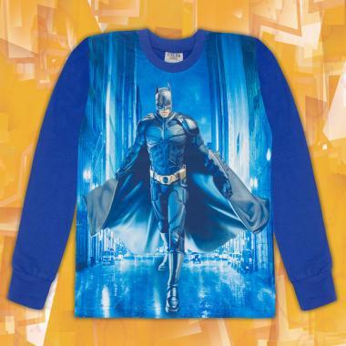 Блуза тънка дълъг ръкав с Батман в индиго (дигитален печат)