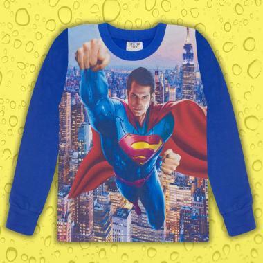 Блуза тънка дълъг ръкав с Супермен в индиго (дигитален печат)