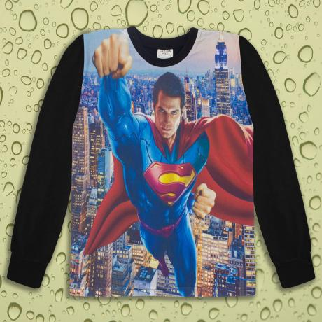 Блуза тънка дълъг ръкав с Супермен в черно (дигитален печат)