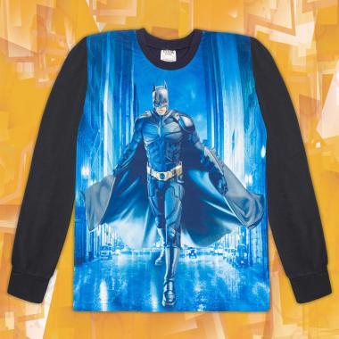 Блуза тънка дълъг ръкав с Батман в тъмно сиво (дигитален печат)