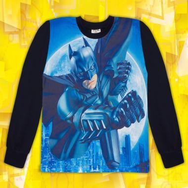 Блуза тънка дълъг ръкав с Батман в тъмно синьо (дигитален печат)