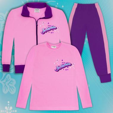 Комплект 3ч.(с/б/д) Top Fashion розово и лилаво