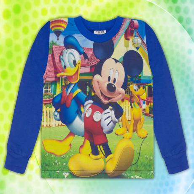 Блуза с дълъг ръкав Мики Маус в индиго (дигитален печат)
