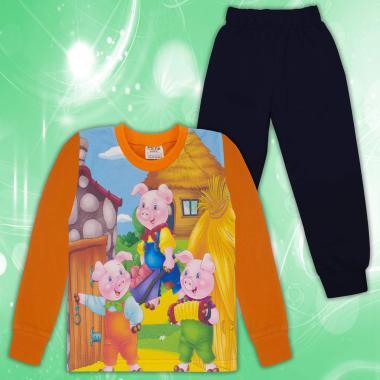 Комплект 2ч.(б/д) трите прасенца в оранжево (дигитален печат)