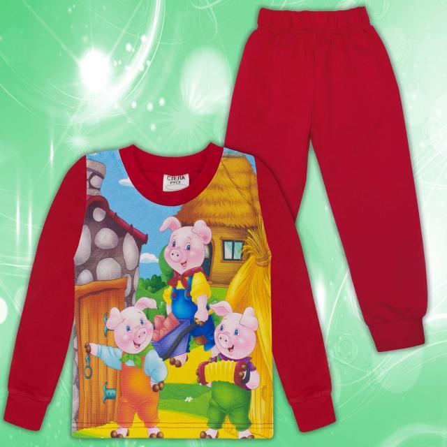 Комплект 2ч.(б/д) трите прасенца в червено (дигитален печат)