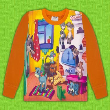Блуза с дълъг ръкав Вълкът и седемте козлета в оранжево (дигитален печат)