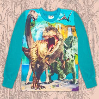 Блуза тънка дълъг ръкав с Динозаври (дигитален печат) в морско синьо