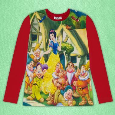 Блуза тънка с дълъг ръкав Снежанка 2 в червено (дигитален печат)