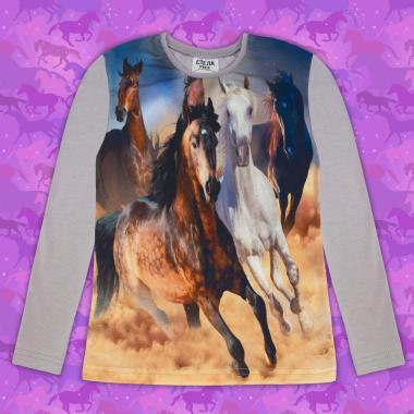 Блуза тънка с дълъг ръкав с коне в сиво (дигитален печат)