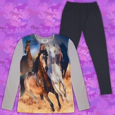 Комплект (б/к) с  коне в сиво (дигитален печат)