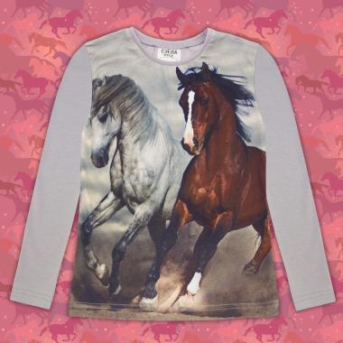 Блуза тънка с дълъг ръкав с коне в сиво 2(дигитален печат)