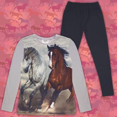 Комплект (б/к) с  коне в сиво 2 (дигитален печат)