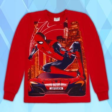 Блуза триконечна вата Спайдърмен в червено