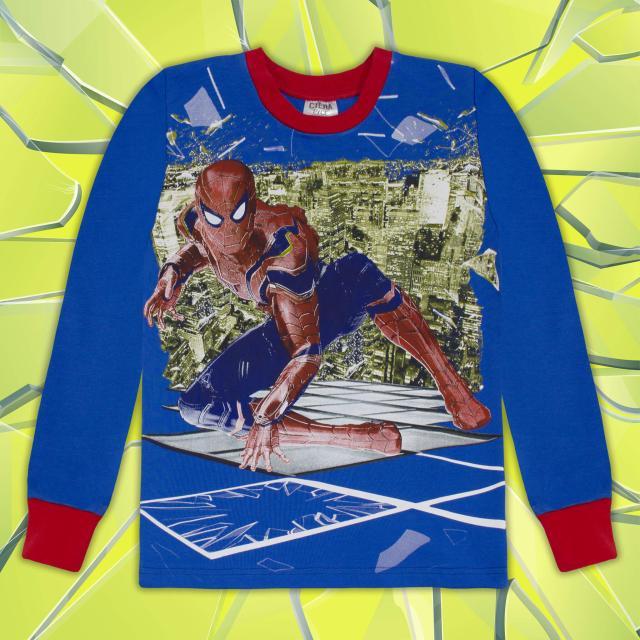 Блуза Супер Герой в мастилено синьо и червено