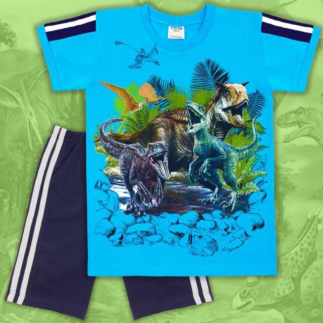 Комбинация тениска и бермуди Динозаври в наситеносиньо/тъмно синьо