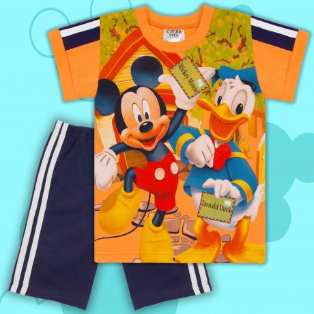 Комбинация тениска и бермуди Сладкото мишле в оранжево