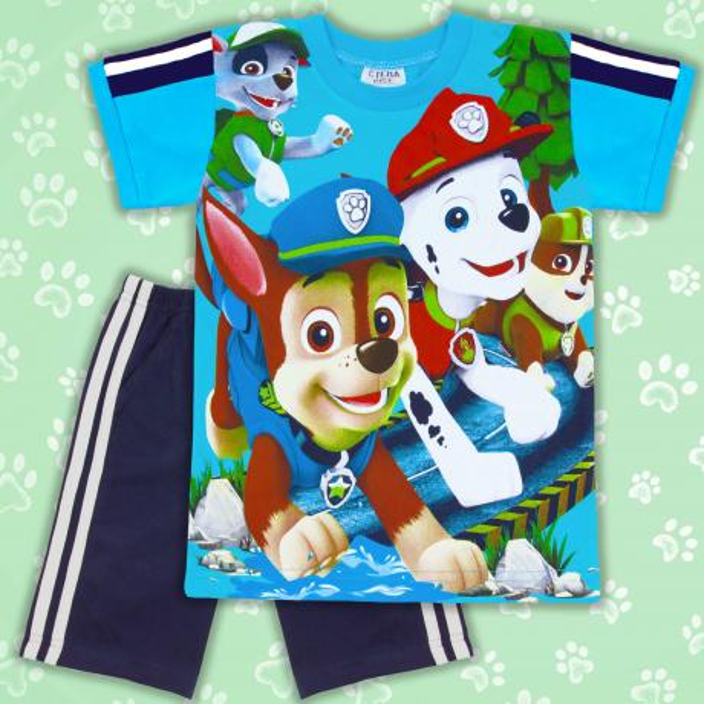 Комбинация тениска и бермуди Кучета синьо