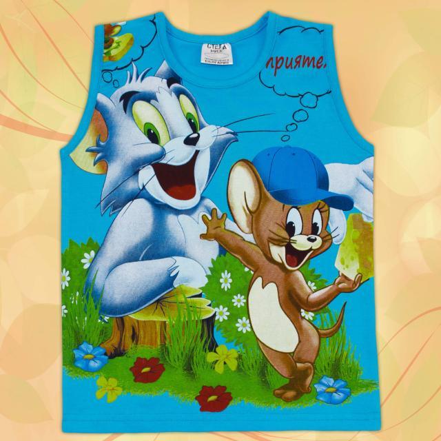 Тениска без ръкав Том и Джери в наситеносиньо