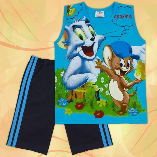 Комбинация тениска без ръкав и бермуди Том и Джери наситеносиньо