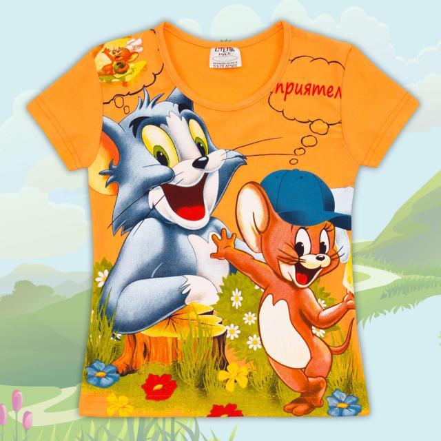 Блуза с къс ръкав Том и Джери оранжево