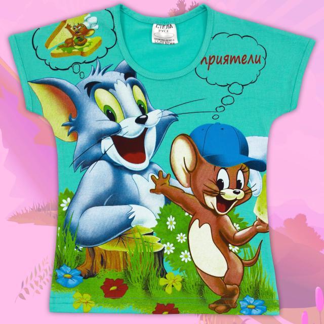 Блуза с къс ръкав Том и Джери мента